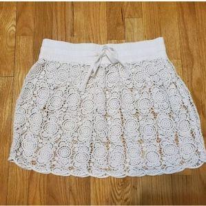 3/$25 Loft Ivory Lace Crochet Skirt Swim Cover S